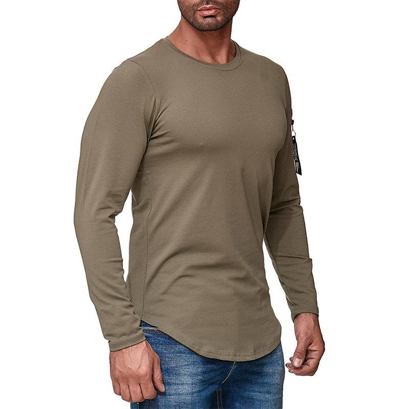 Casual Stitching Zipper Round Neck Long Sleeve T-shirt