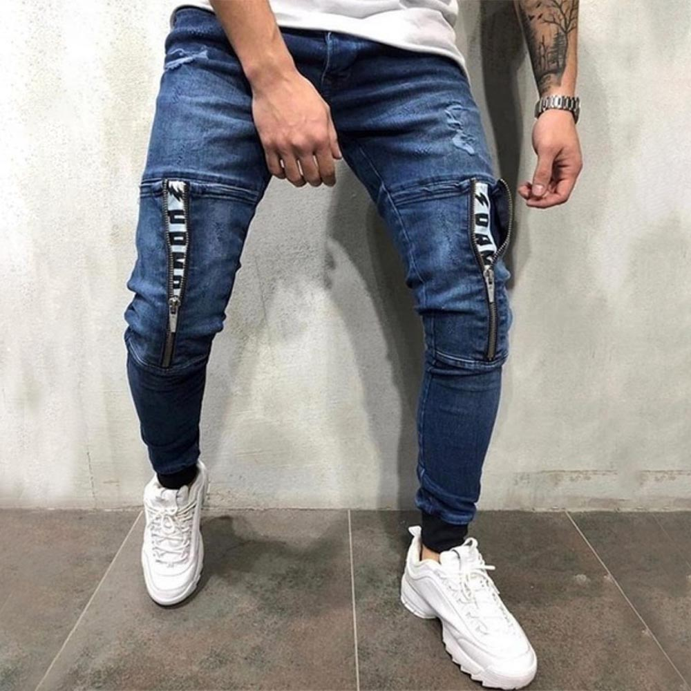Paneled Letter Print Cutout Foot-binding Casual Jeans