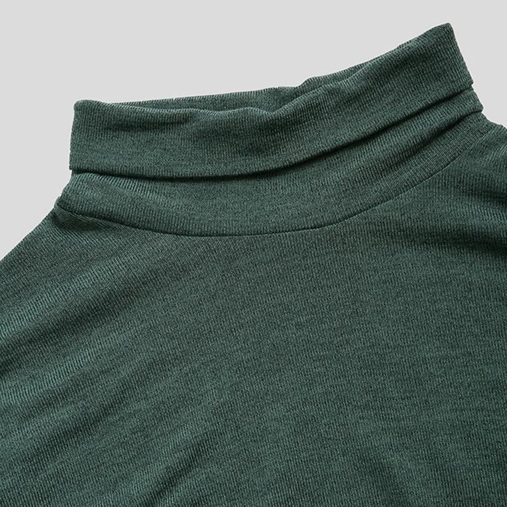 Solid Paneled Ribbed Turtleneck Casual Tops