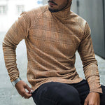 Holiday Plaid Print Turtleneck Paneled Long Sleeves T-shirt