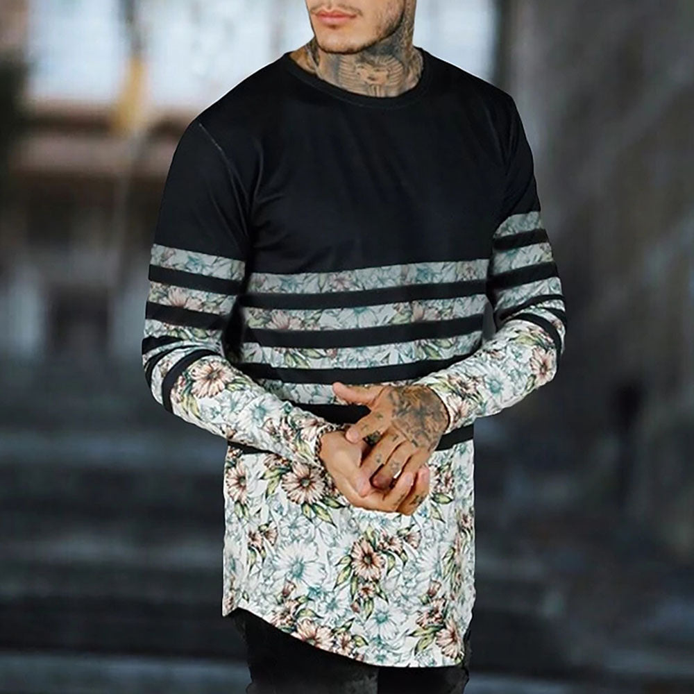 Sports Stripe Floral Long Sleeve T Shirt
