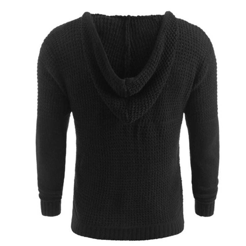 Casual Knitted Ribbed Hollow Out Horn Buckles Hooded Sweater