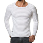 Solid Stripe Ribbed Knitted Top Sweater