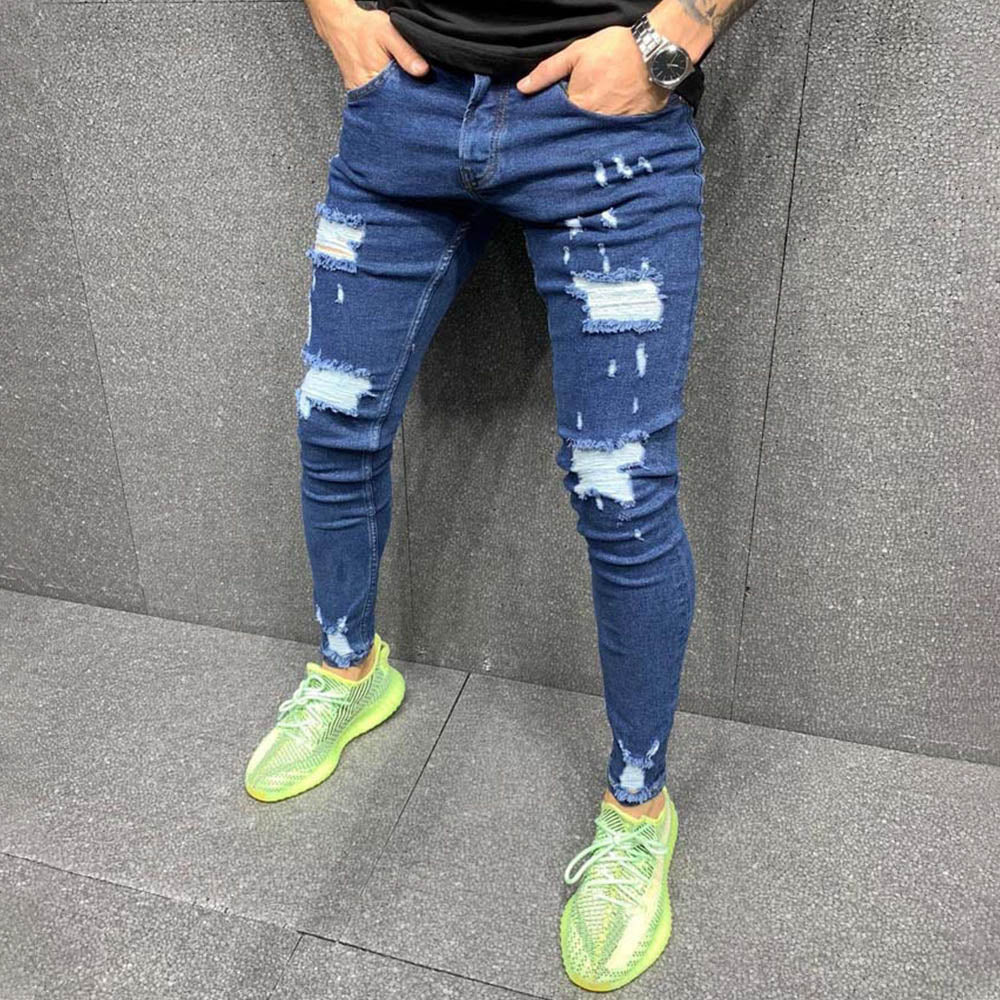 Men Solid Classic Trendy Cutout Pockets Jeans
