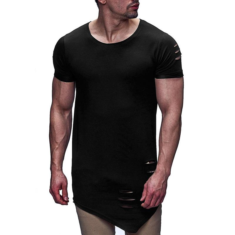 Ripped Holes Irregular Short Sleeve Tee T Shirt