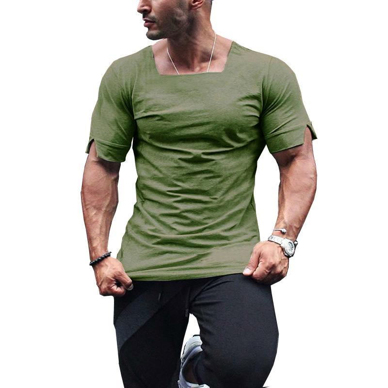 Square Neck Notch Sleeve T-shirt