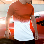 Gradient Print Short Sleeves Casual T-shirt