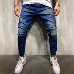 Street Solid Cutout Pockets Blue Long Jeans