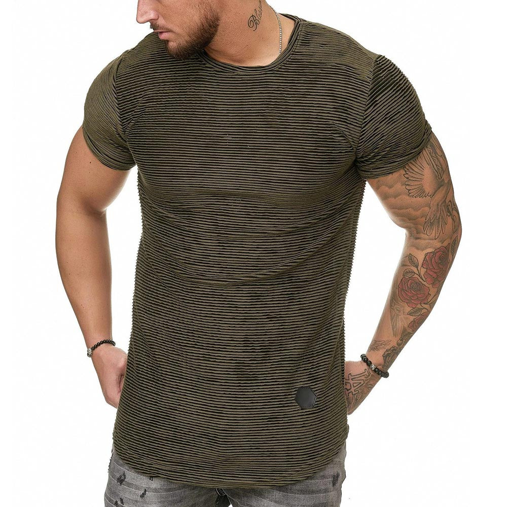 Paneled Striped Print Casual Short Sleeves T-shirt