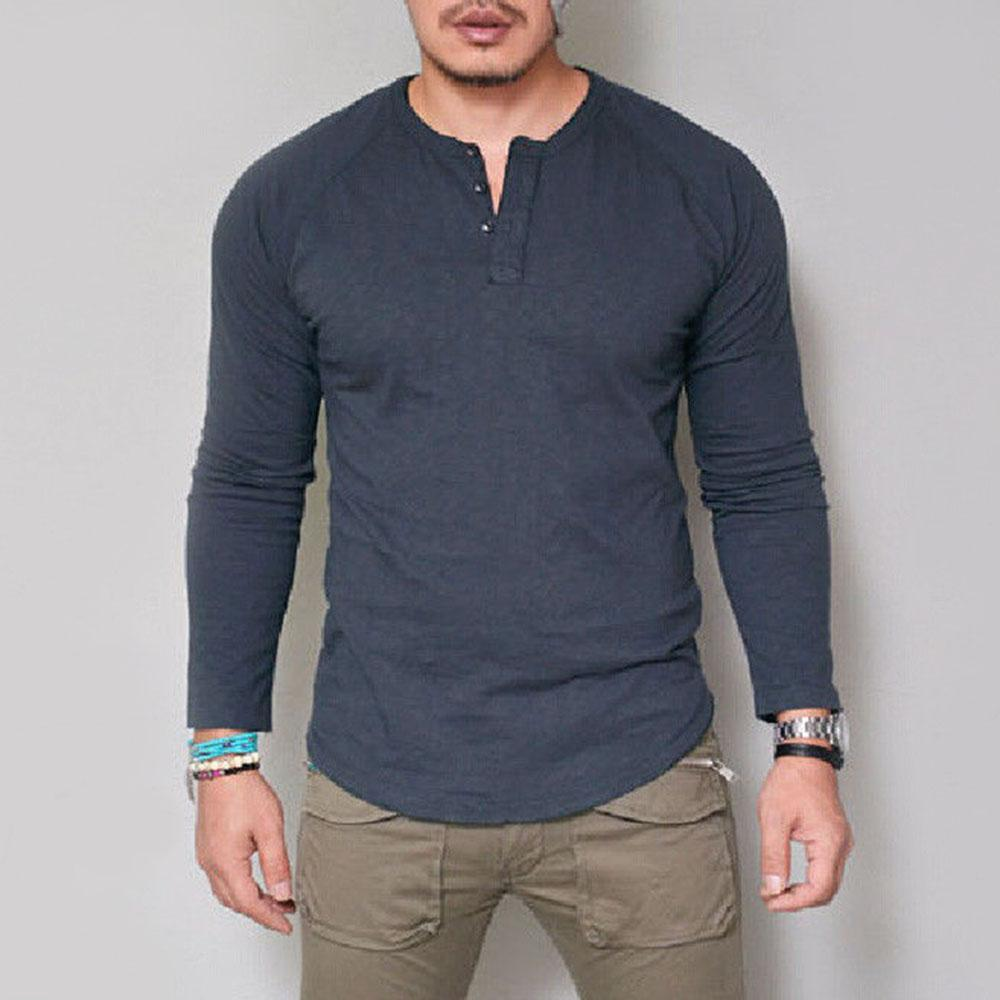 Button Long Sleeve T Shirt