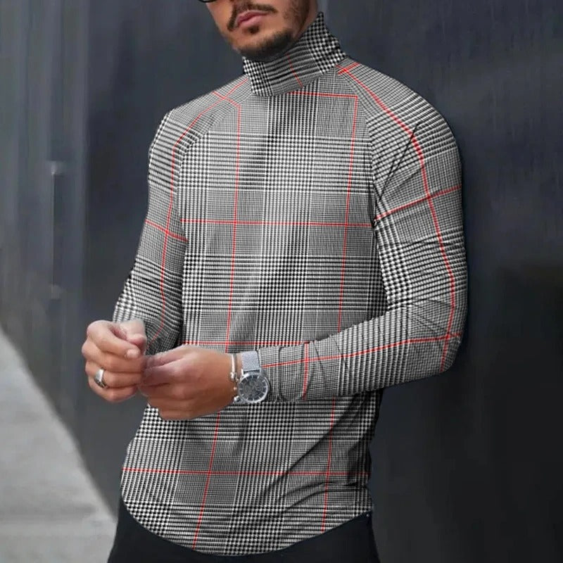 Paneled Plaid Print Turtleneck Vintage T-shirt