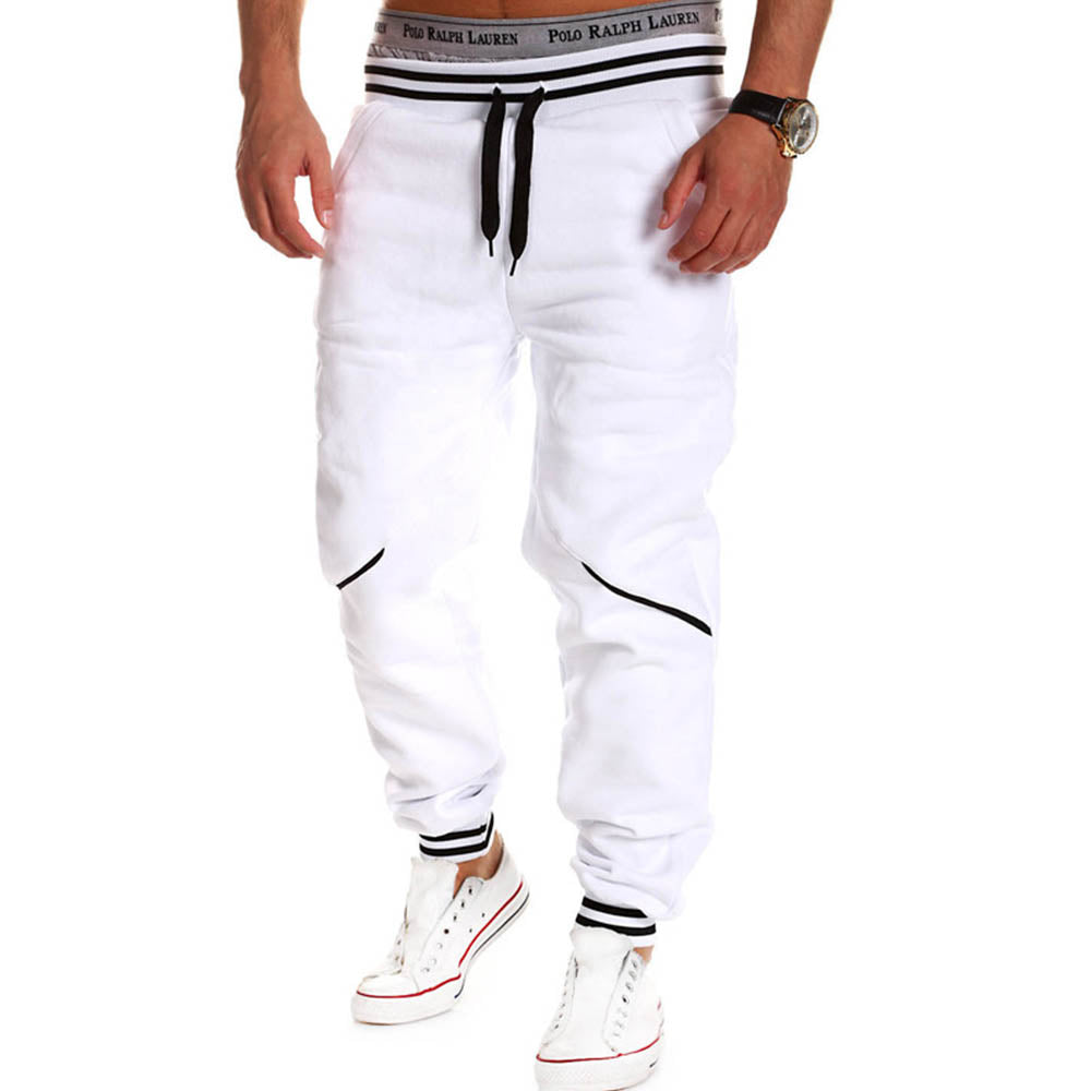Men Solid Color Stripe Loose Drawstring Sweatpants