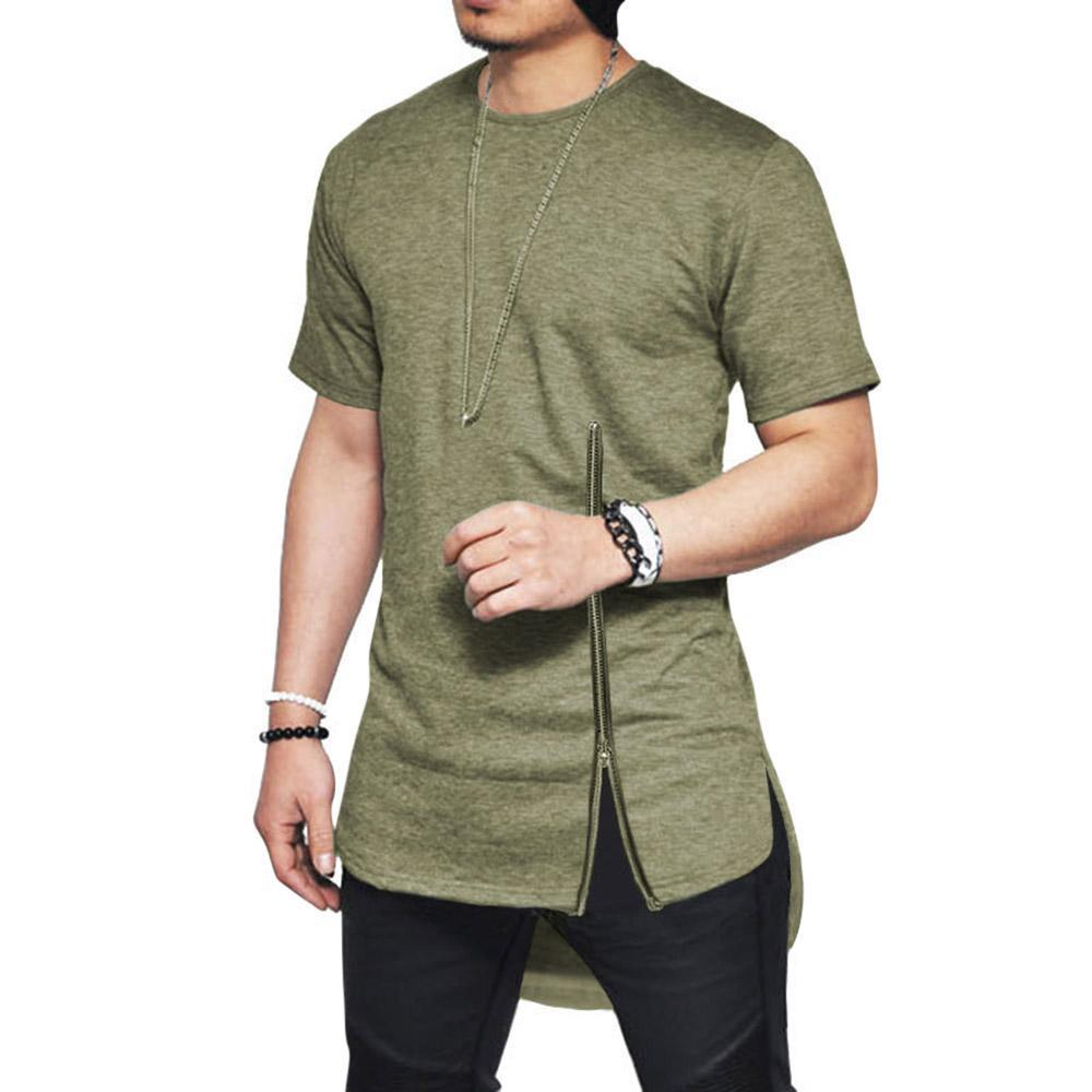 Solid Pullover Zipper Short Sleeves T-shirt