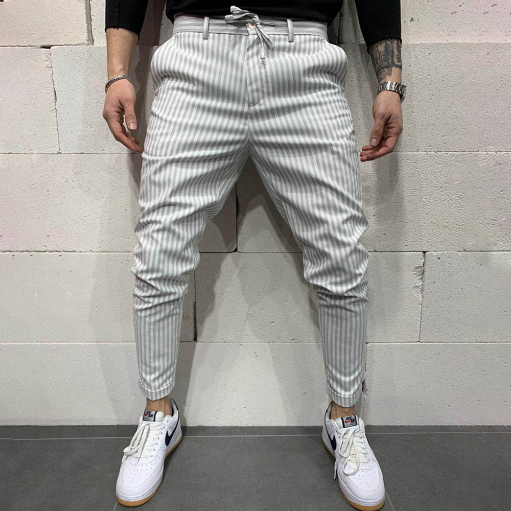 Striped Print Self-tie Paneled Casual Pants