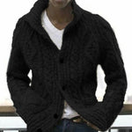 Tweed Ribbed Knitted Solid Buttons Down Lapel Collar Cardigan