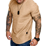 Casual Solid Crew Neck Paneled Short Sleeves T-shirt