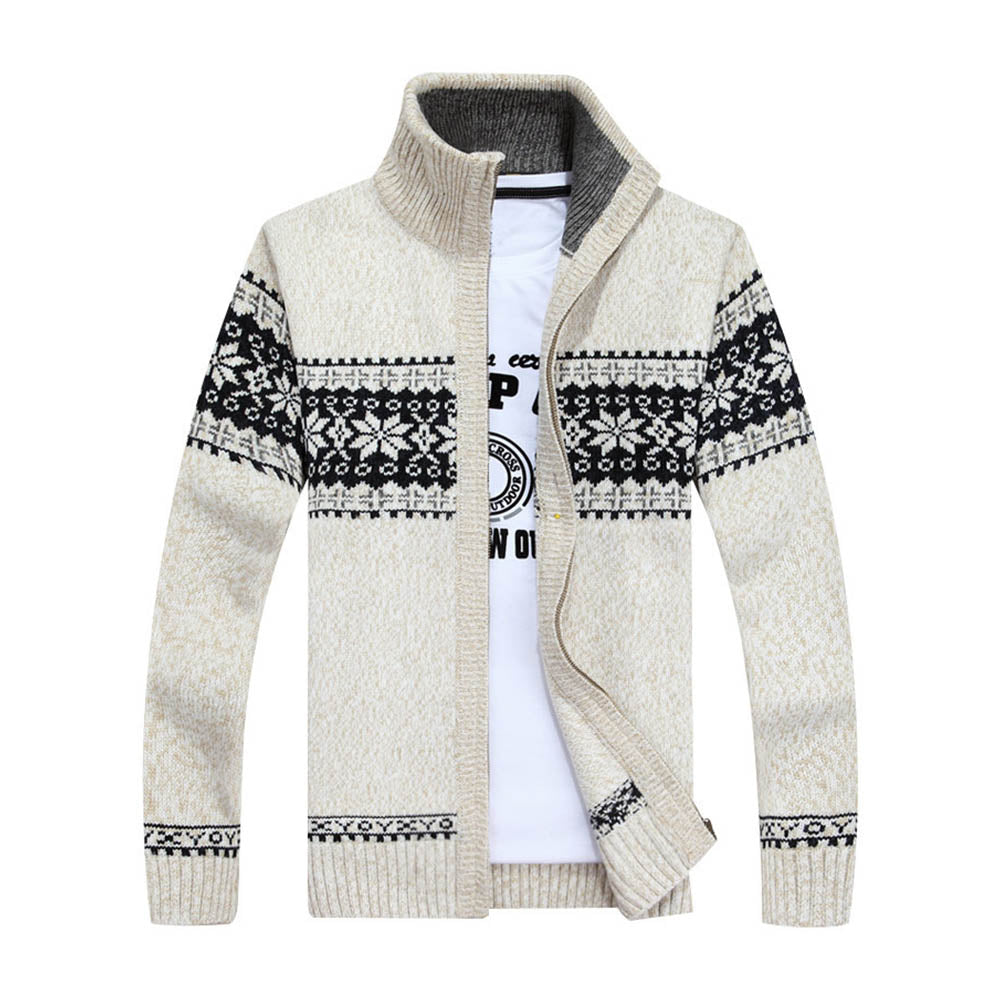 Vintage Geometric Jacquard Zipper Front Stand Collar Knitted Ribbed Man Cardigan