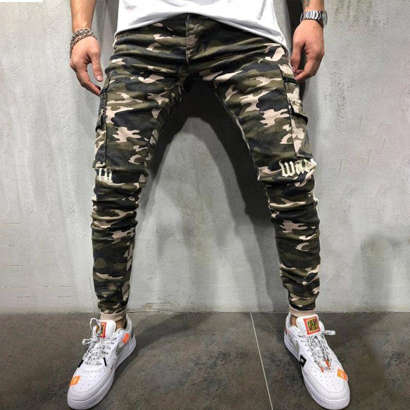 Camo Braided Stitching Jeans
