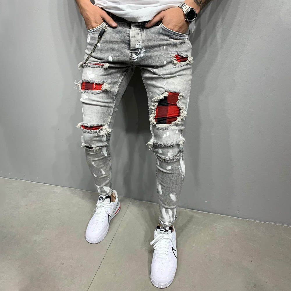 Men Wash Ripped Paint Print Skinny Jeans