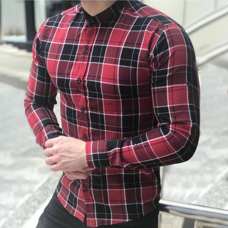 Grid Printed Stand Neck Long Sleeve Shirt