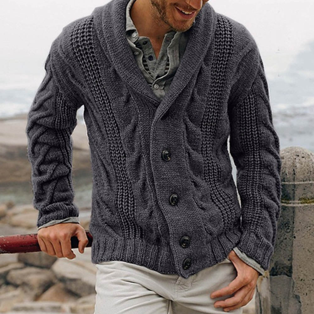 Holiday Knitted Tweed Ribbed Buttoned Lapel Collar Cardigan