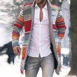 Holiday Colorful Striped Jacquard Side Pockets Buttoned Lapel Collar Man Jacket Coat