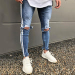 Stitching Ripped Hole Skinny Denim Pants Jeans