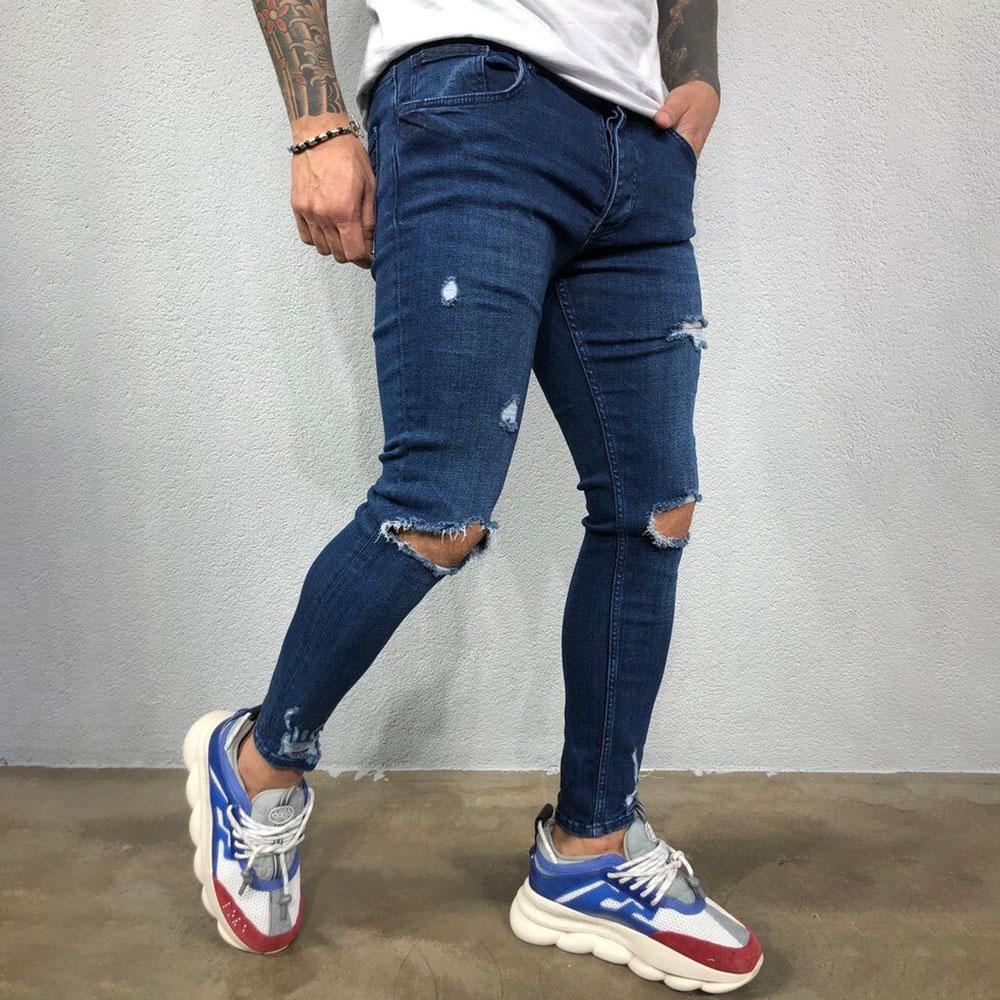 Fashion Ripped Holes Denim Pants Jeans