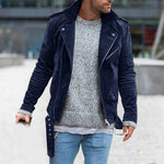 Street Fashion Solid Paneled Buttoned Lapel Collar Jacket