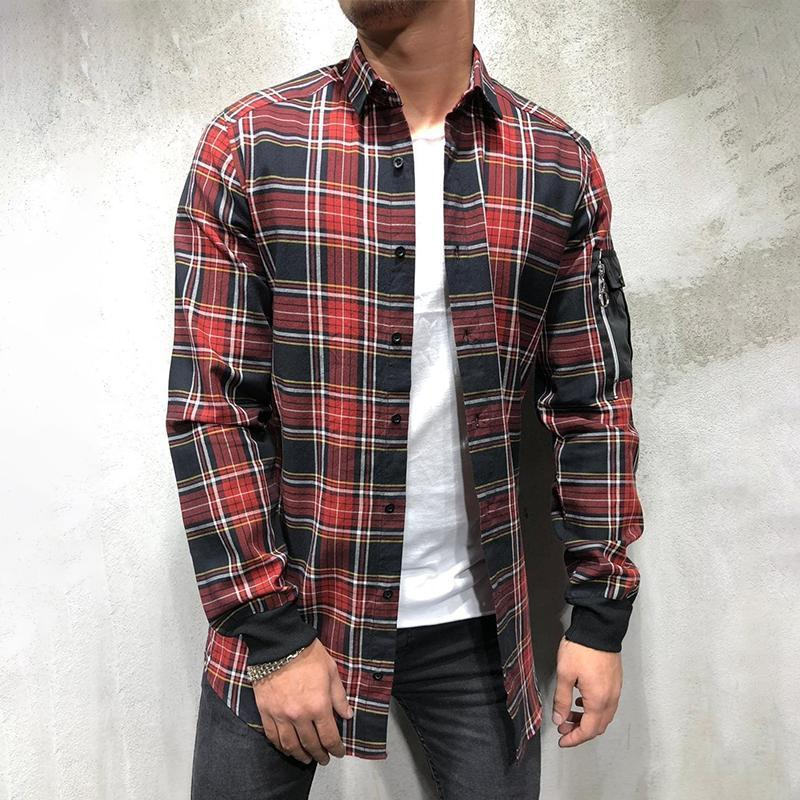 Grid Arm Zipper Long Sleeve Shirt