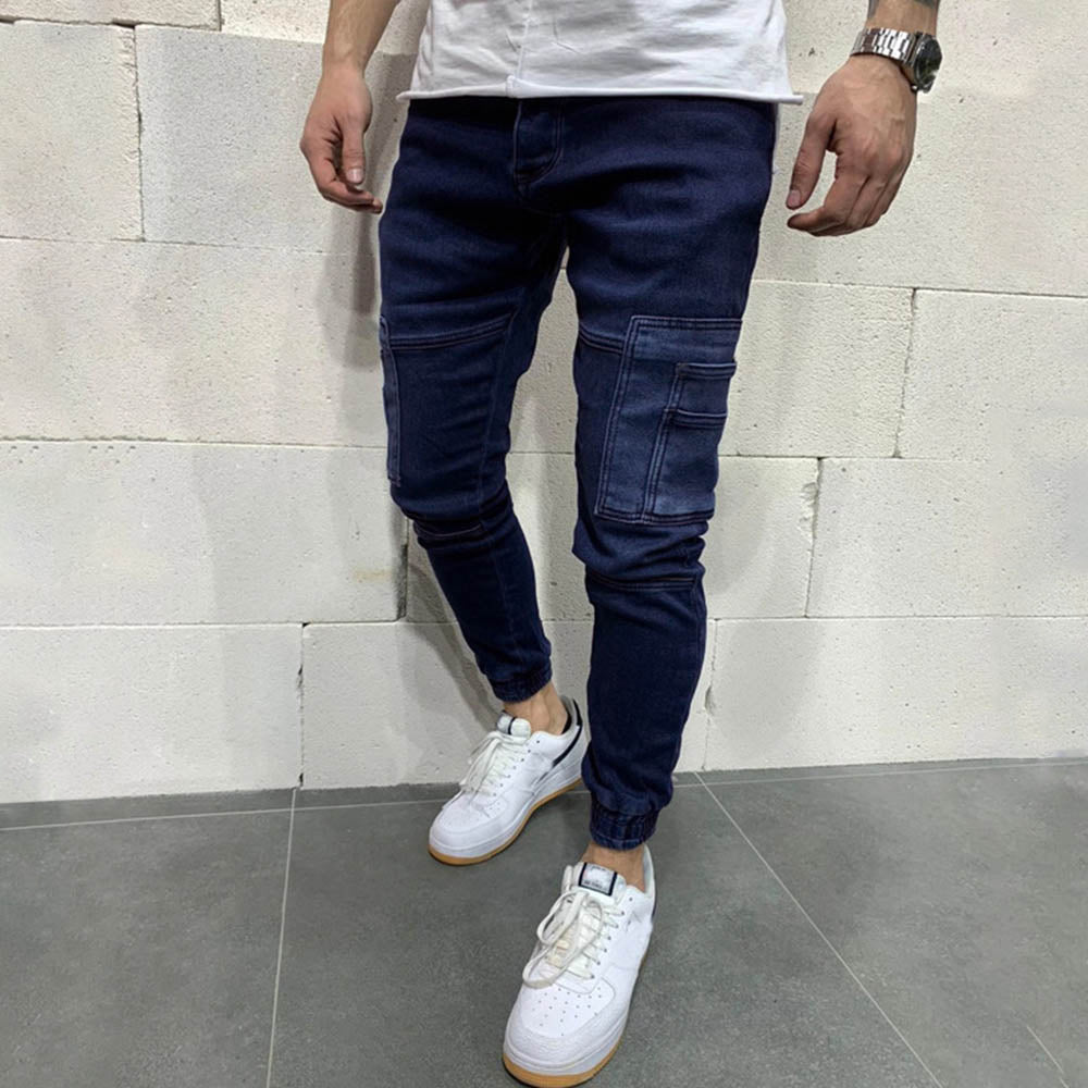 Casual Solid Paneled Side Pockets Foot-binding Men Jeans