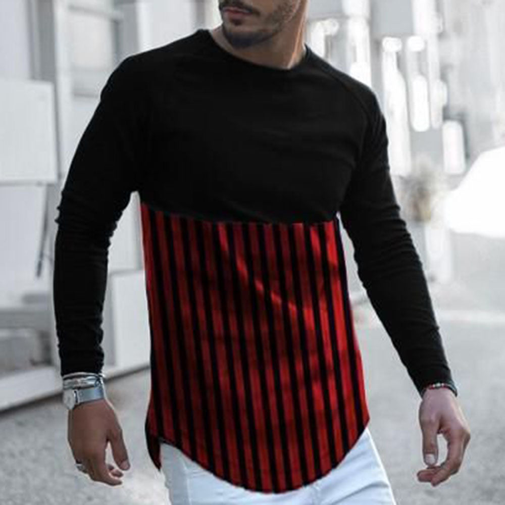 Casual Colorblock Stripe Long Sleeve T Shirt Tee