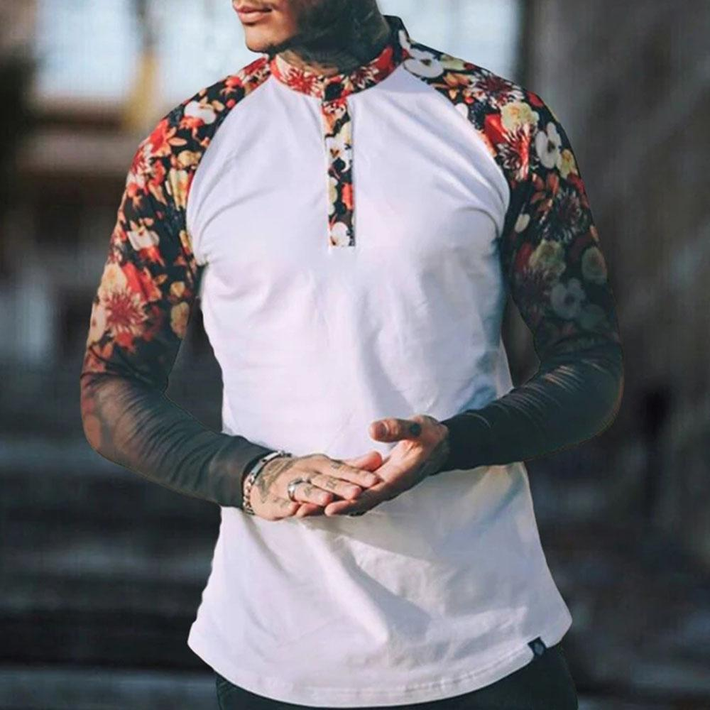 Button Floral Raglan Long Sleeve T Shirt