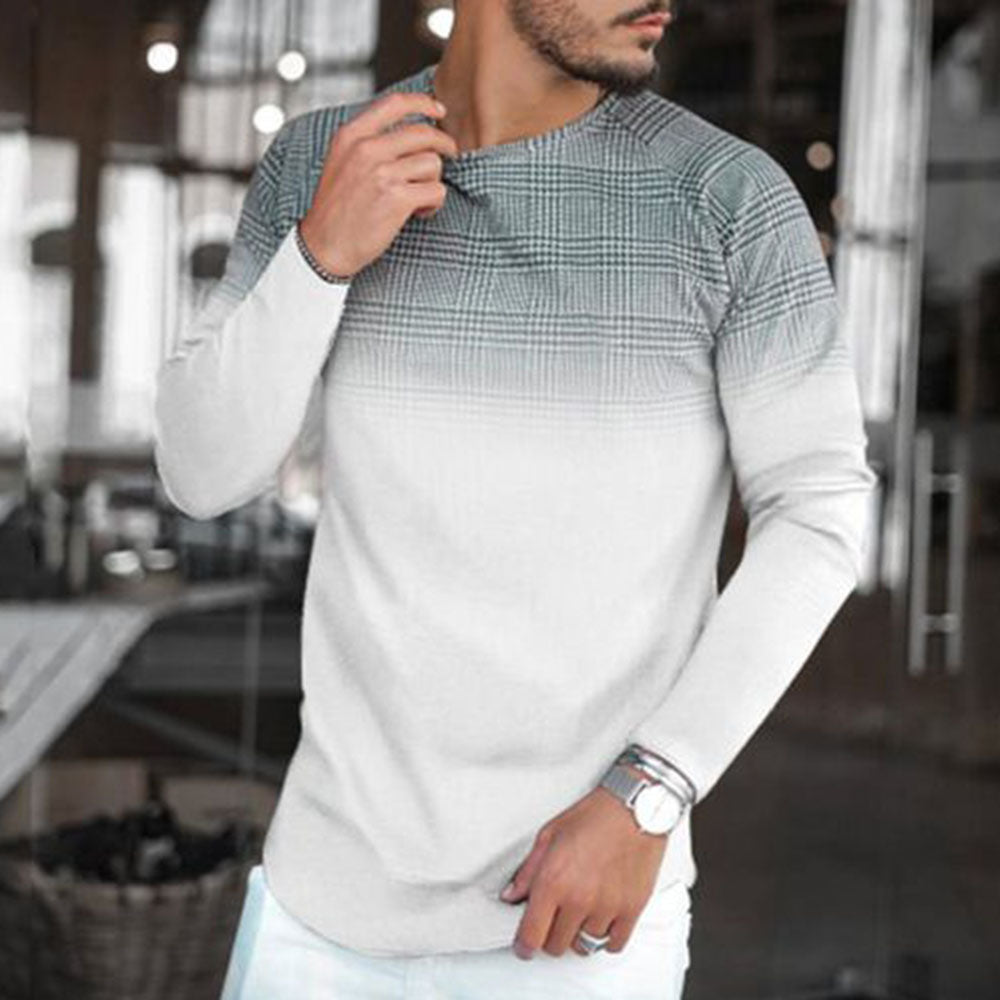 Casual Grid Printed Gradient Long Sleeve T Shirt