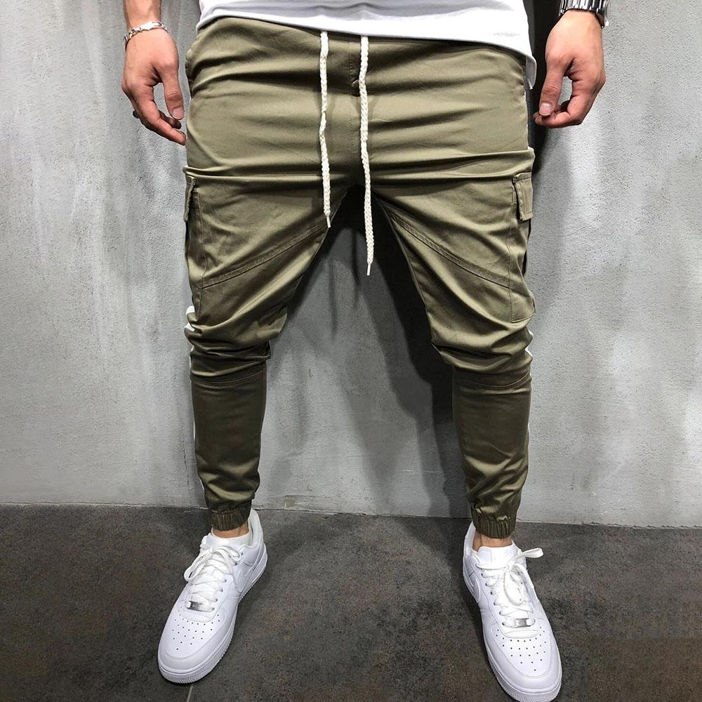 Casual Colorblock Drawstring Pockets Pants