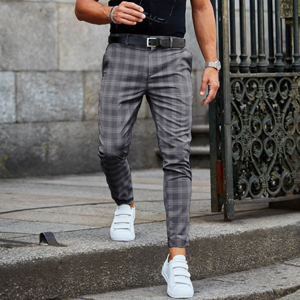 Casual Plaid Print Paneled Side Pockets Pants
