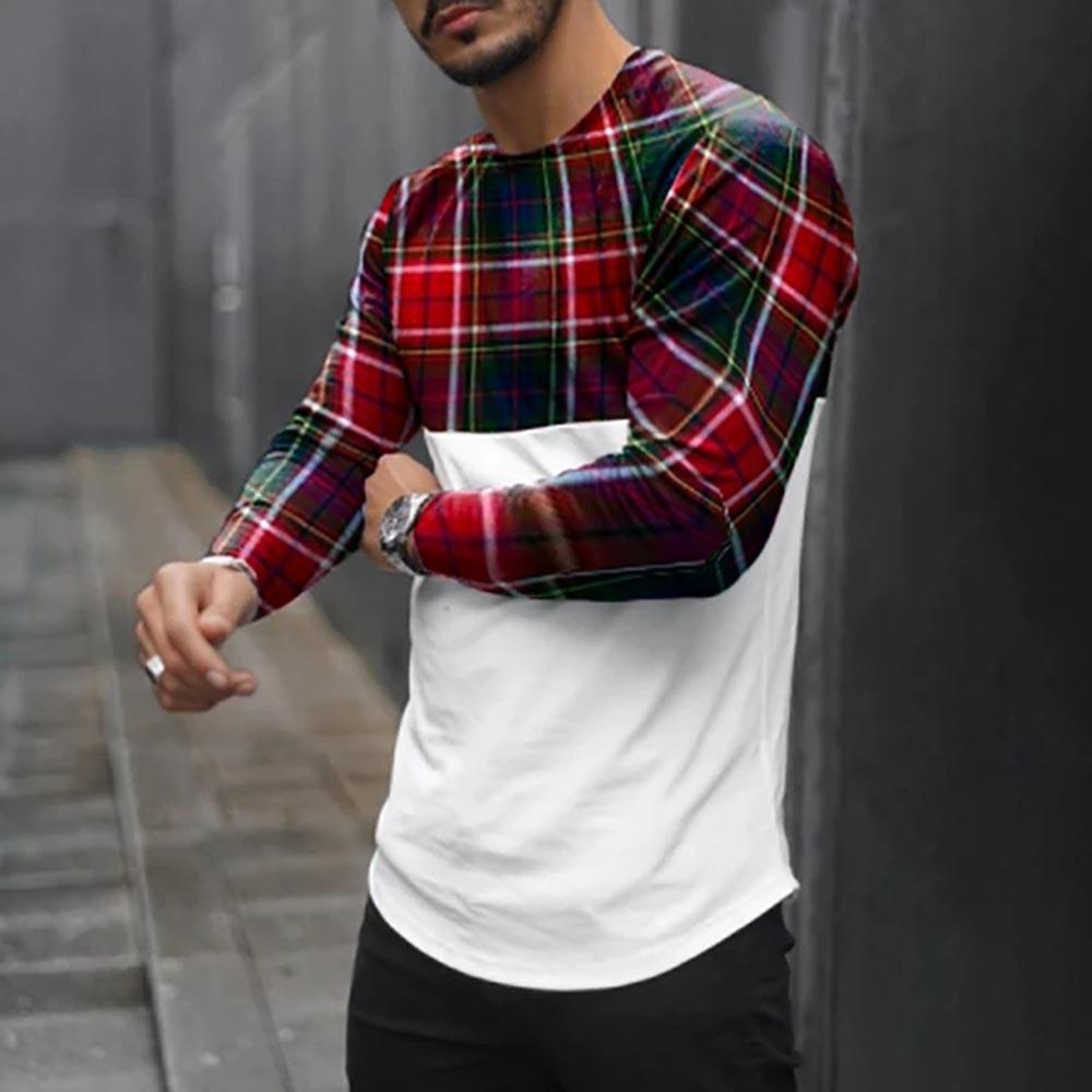 Grid Stitching Casual Long Sleeve Tee T-shirt