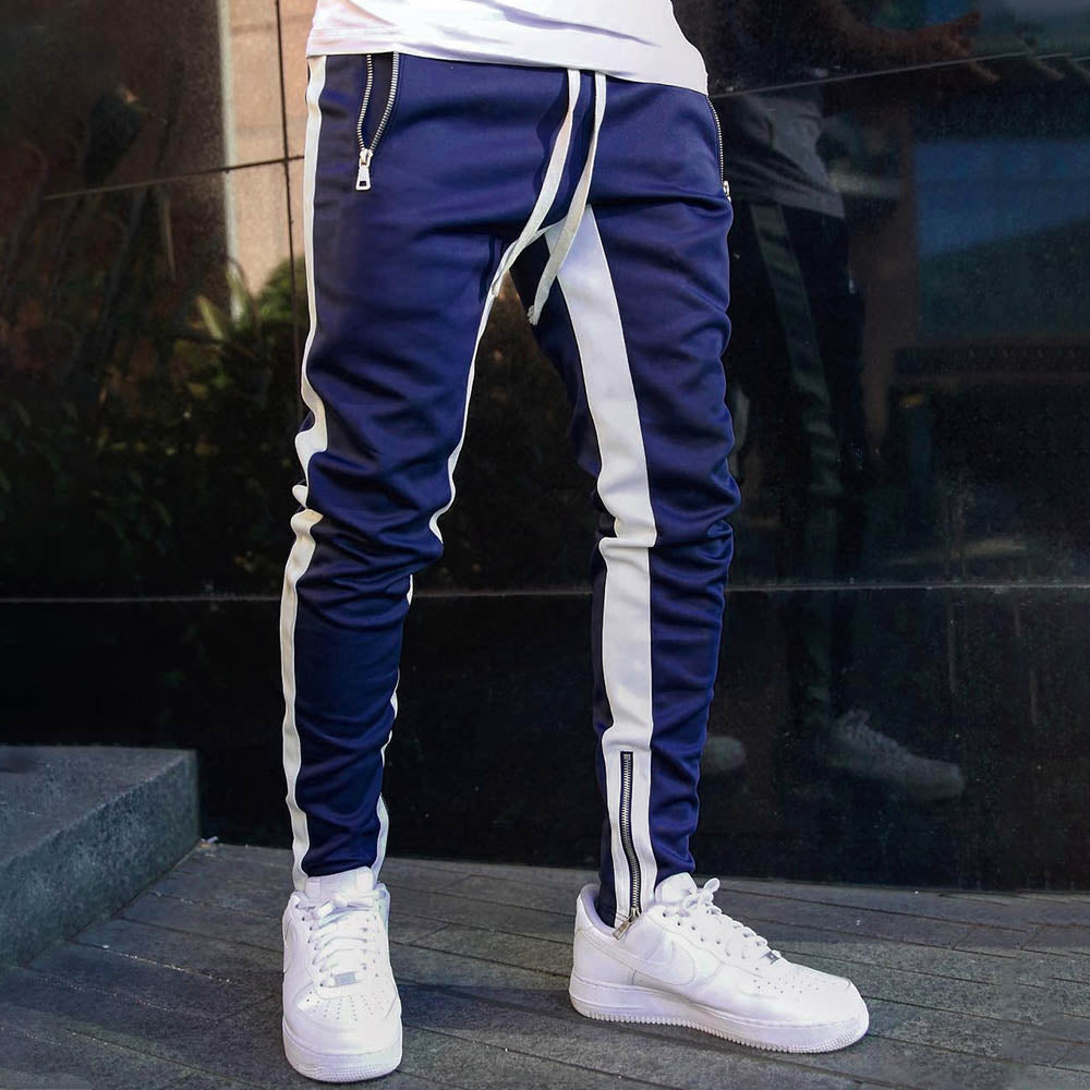 Casual Striped Print Paneled Side Zipper Pockets Self-tie Pants