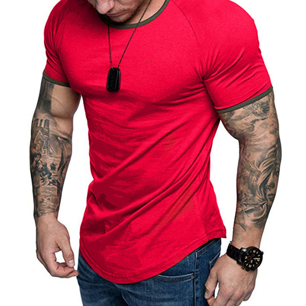 Paneled Solid Casual Short Sleeves Curved Hem T-shirt