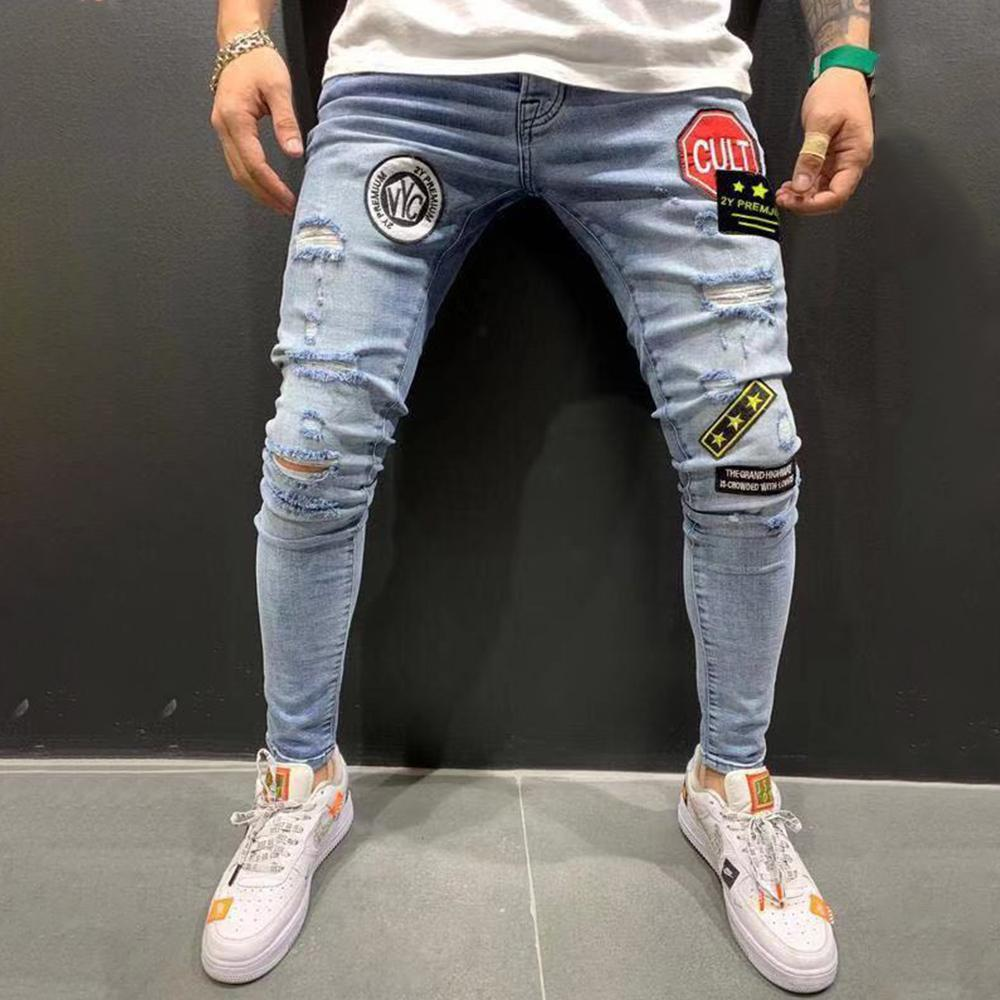 Badge Ripped Holes Jeans