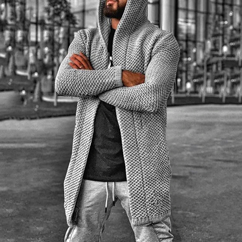 Casual Solid Knitted Ribbed Cutout Hollow Out Hooded Cardigan