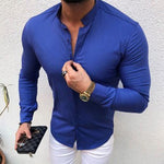 Casual Solid Stand Neck Long Sleeve Shirt