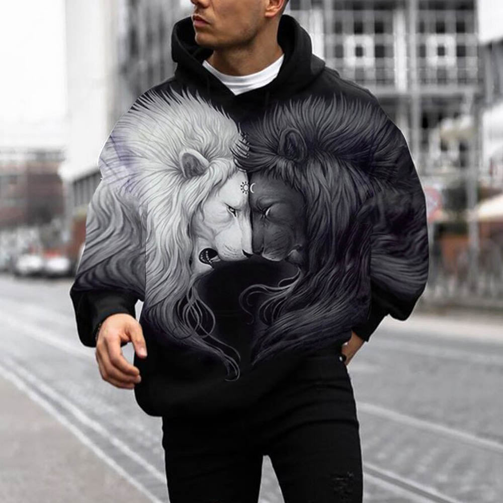 Street White Sun And Black Moon Lion Print Color Block Pocket Front Man Hoodie