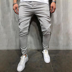 Casual Grid Side Stitching Drawstring Waist Pants