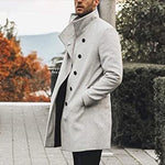 Men Lapel Neck Single Button Slant Pocket Mid Length Coat