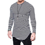 Stripe Curved Long Sleeve Tee