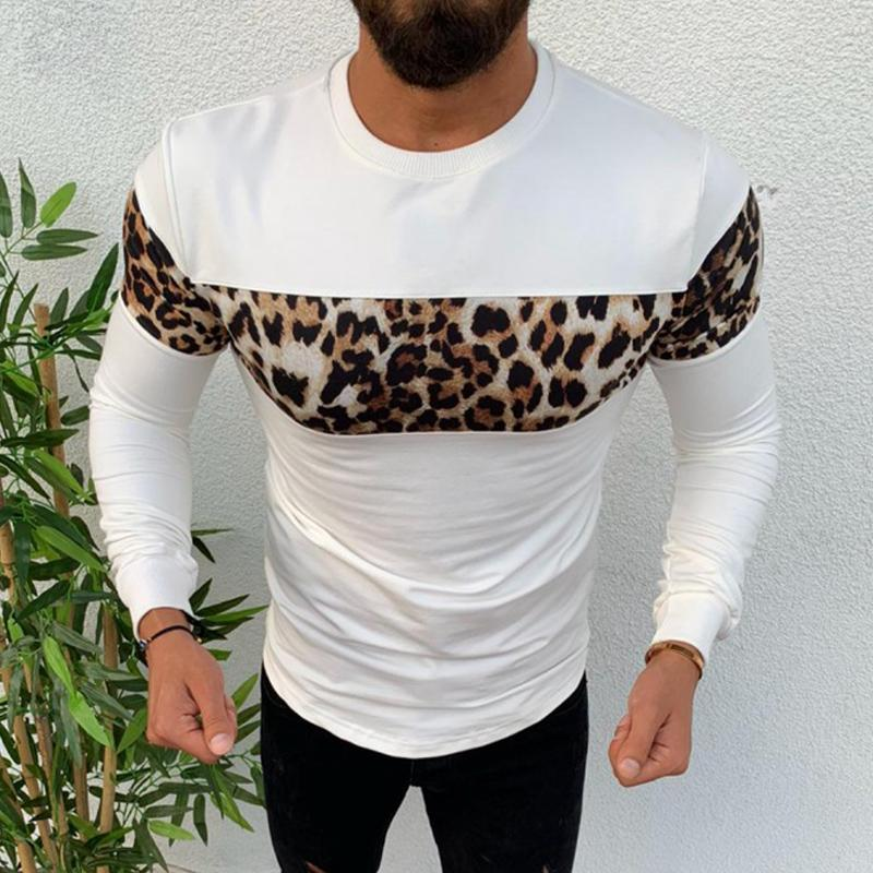 Leopard Stitching Long Sleeve T-shirt