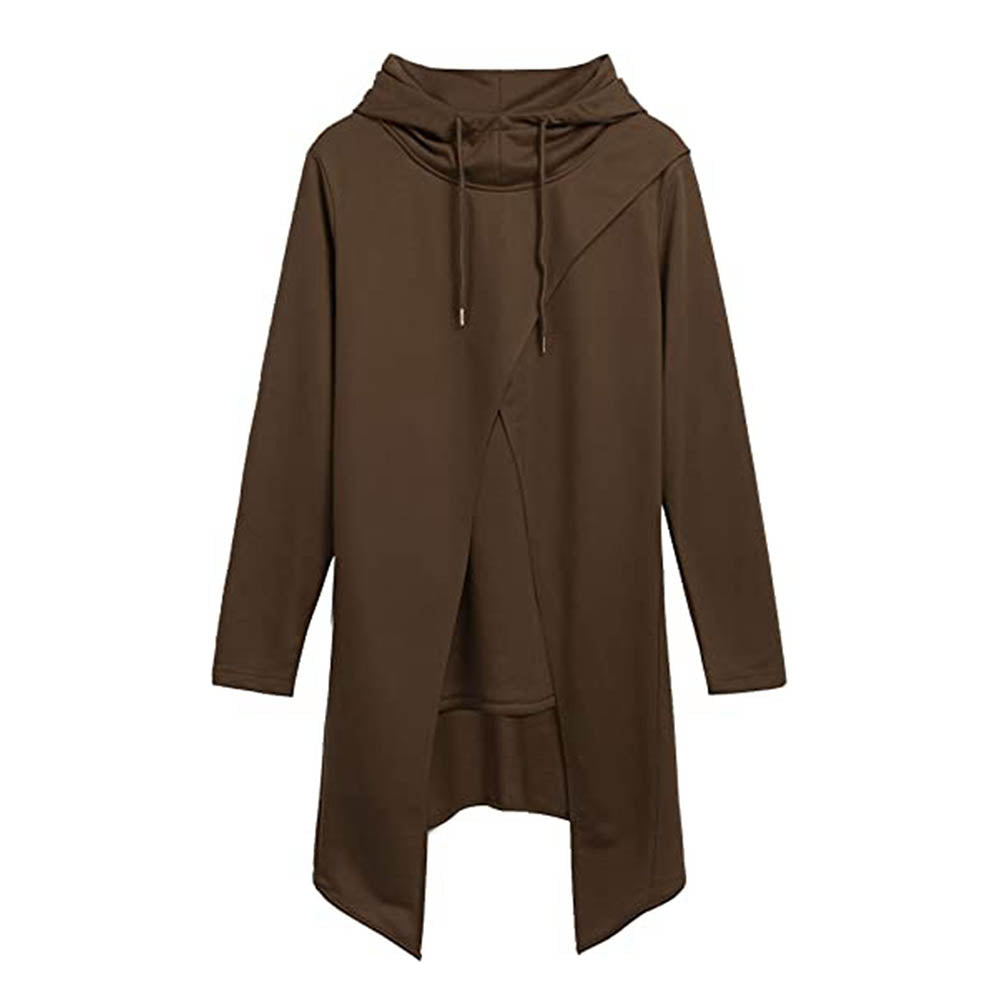 Street Cross Front High Low Hem Solid Fake Two Pieces Drawstring Man Hoodie