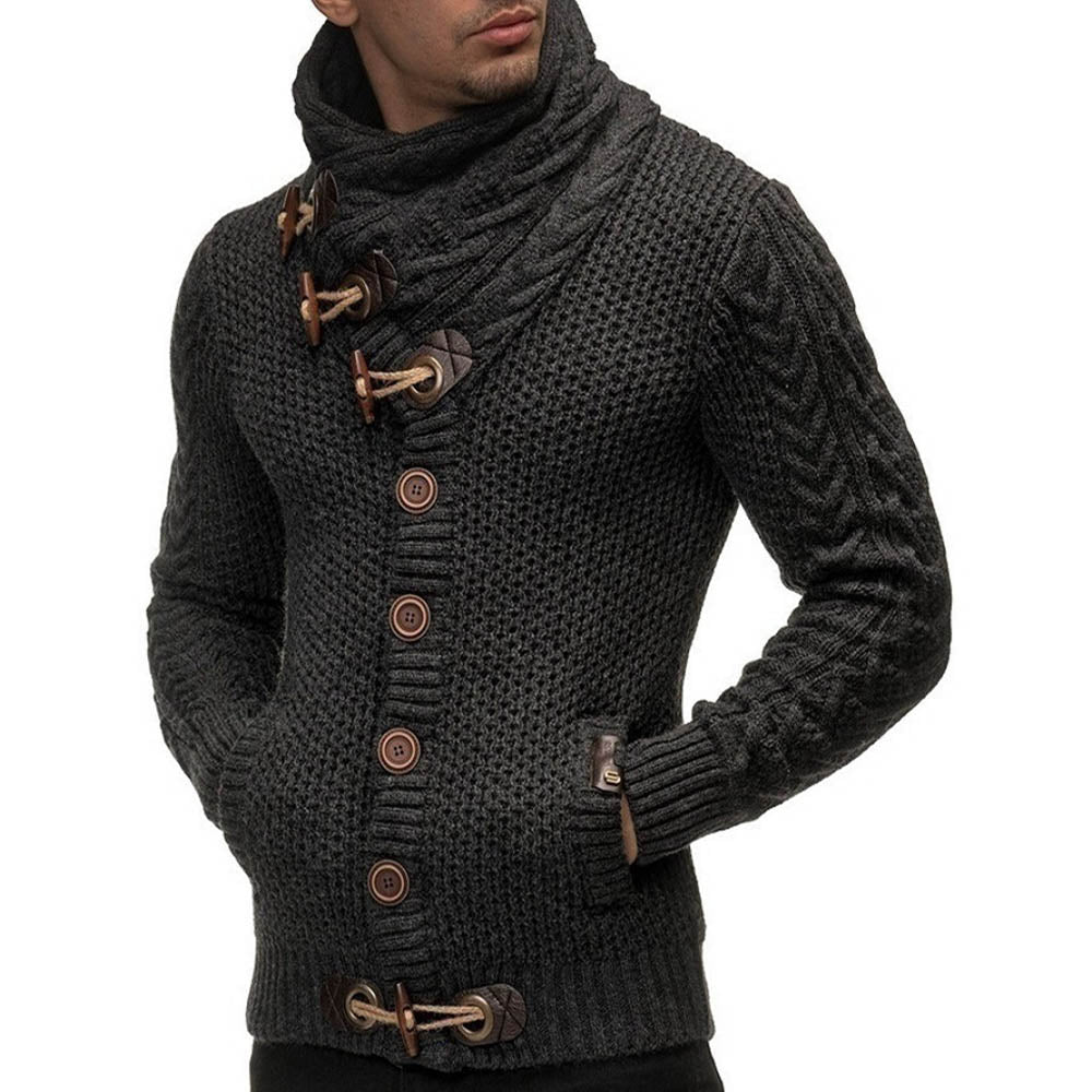 Knitted Ribbed Paneled Horn Buckles Buttoned Turtleneck Tweed Cardigan