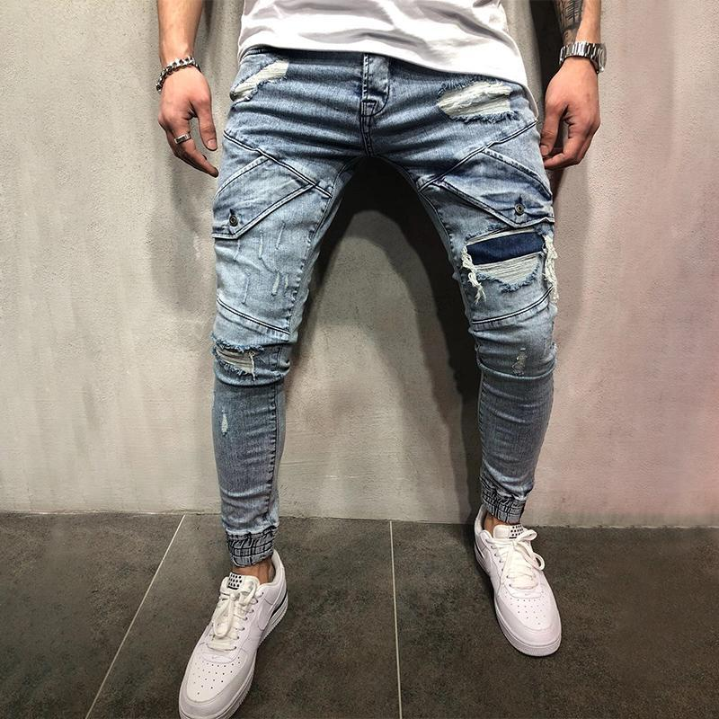 Stitching Ripped Holes Jeans